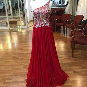 Red prom dress with rhinestones